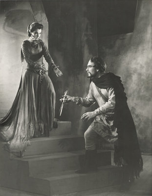 Macbeth 1955, Lady Macbeth asks for the daggers from Macbeth without scratch by Angus McBean - print