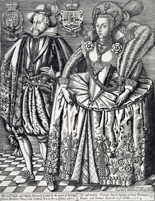 James I, King of England, Scotland and Ireland, and Anne of Denmark Wall Art & Canvas Prints by Renold Elstrack