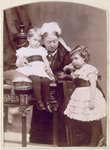 Queen Victoria with two of her grandchildren Fine Art Print by French School