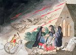 Three witches in a graveyard Fine Art Print by Claude Gillot