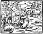 Witches roasting and boiling infants Fine Art Print by Matteo di Giovanni di Bartolo