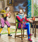 Sir Walter Raleigh smoking a pipe Fine Art Print by Edward Bird