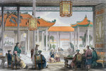 Jugglers Exhibiting in the Court of a Mandarin's Palace Fine Art Print by Achille Deveria
