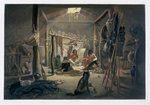 The Interior of the Hut of a Mandan Chief Poster Art Print by French School