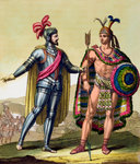 The encounter between Hernando Cortes and Montezuma II Fine Art Print by Spanish School