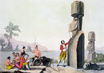 Statues on Easter Island Fine Art Print by French School