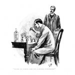 Holmes was working Hard over a Chemical Investigation Fine Art Print by Neville Dear