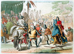 Knights duelling on foot in a tournament Fine Art Print by Ron Embleton