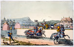 Knights jousting at a tournament Fine Art Print by Ron Embleton