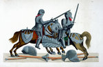 Two knights jousting at a tournament Fine Art Print by Howard Pyle