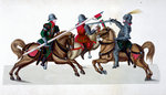 Three knights jousting at a tournament Poster Art Print by German School