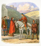 Edward the Martyr arriving at Corfe Postcards, Greetings Cards, Art Prints, Canvas, Framed Pictures, T-shirts & Wall Art by French School