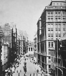 Broad Street, looking towards Wall Street Fine Art Print by English School