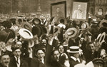 Crowd celebrating the Kaiser's proclamation of war against Great Britain Fine Art Print by Clive Uptton