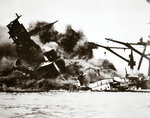 Battleship USS 'Arizona' (BB-39) sinking during the attack on Pearl Harbour Fine Art Print by Graham Coton