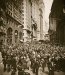 Crowds on Wall Street Fine Art Print by English School