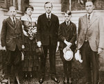 Calvin Coolidge, American politician, with his father, wife, and sons Fine Art Print by Graham Dean