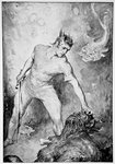 Beowulf shears off the head of Grendel Fine Art Print by William Bell Scott