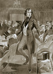Disraeli's first speech in the House of Commons Fine Art Print by English School