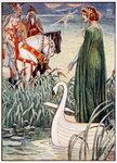 King Arthur asks the Lady of the Lake for the sword Excalibur Fine Art Print by William Bell Scott