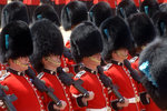 Irish Guards march pass during the last rehearsal of the Trooping the Colour ceremony in London. Wall Art & Canvas Prints by Etienne Prosper Berne-Bellecour