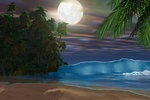 Moonlight shines down on the beach during the night of a full moon. Wall Art & Canvas Prints by Charles Filiger