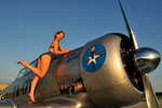 1940's pin-up girl standing on the wing of a World War II T-6 Texan. Wall Art & Canvas Prints by Cathy Lomax