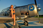 1940's pin-up girl sitting on the wing of a World War II T-6 Texan. Postcards, Greetings Cards, Art Prints, Canvas, Framed Pictures, T-shirts & Wall Art by Cathy Lomax