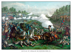 Digitally restored Civil War print of the Battle of Opequon. Postcards, Greetings Cards, Art Prints, Canvas, Framed Pictures & Wall Art by James Edwin McConnell
