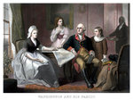 Vintage American history print of the Washington family seated at a table. Wall Art & Canvas Prints by Alexander Chisholm
