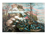 Vintage American Civil War print of The Battle of Lookout Mountain. Postcards, Greetings Cards, Art Prints, Canvas, Framed Pictures, T-shirts & Wall Art by Pawel Kowalewsky
