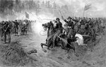 Civil War print of Union cavalry soldiers charging a Confederate firing line. Postcards, Greetings Cards, Art Prints, Canvas, Framed Pictures, T-shirts & Wall Art by Massimo Taparelli d' Azeglio