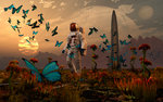An astronaut is greeted by a swarm of butterflies on an alien world. Postcards, Greetings Cards, Art Prints, Canvas, Framed Pictures, T-shirts & Wall Art by Assaf Frank