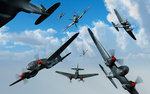 British Supermarine Spitfires attacking German Heinkel bombers. Wall Art & Canvas Prints by Muggeridge