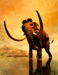 A woolly mammoth in a dramatic frozen sunset. Wall Art & Canvas Prints by Maylee Christie