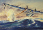 A damaged PBY Catalina aircraft after the attack and sinking of a German U-boat. Postcards, Greetings Cards, Art Prints, Canvas, Framed Pictures, T-shirts & Wall Art by Wilf Hardy