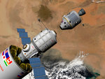 A command module prepares to dock with a Phobos mission rocket in Earth orbit. Wall Art & Canvas Prints by Wilf Hardy