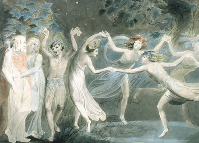 Oberon, Titania and Puck... c.1786 Fine Art Print by William Blake