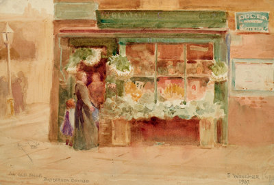 An Old Shop, Battersea Bridge Fine Art Print by Ethel Woolmer