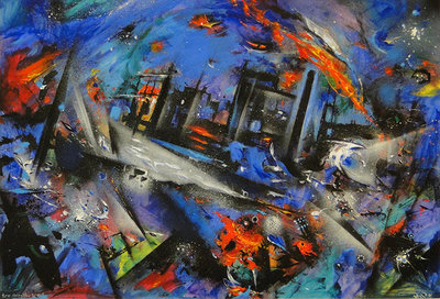 Fire Along The Irwell by David Wilde - art