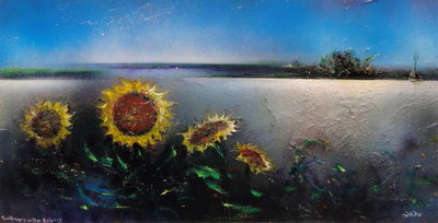 Sunflowers on the Estuary by David Wilde - art