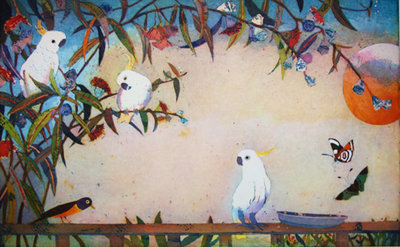 Der Kakadubesuch (Framed *Please call the gallery for delivery price) by Jutta Votteler - art