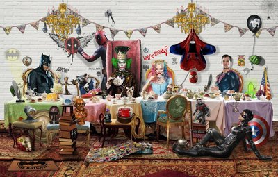 Tea-Time Heroes (*Please call the gallery for framed price) by Dirty Hans - art