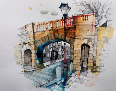 Bridgegate (Framed *Please call the gallery for delivery price) by Ian Fennelly - art