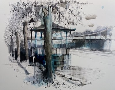 Chester Bandstand (Framed *Please call the gallery for delivery price) by Ian Fennelly - art