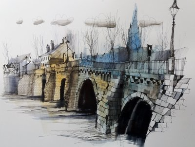 Old Dee Bridge (Framed *Please call the gallery for delivery price) by Ian Fennelly - art