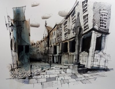 Watergate Street (Framed *Please call the gallery for delivery price) by Ian Fennelly - art