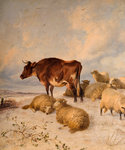 Cows and Sheep in Snowscape, 1864 Fine Art Print by Maggie Rowe